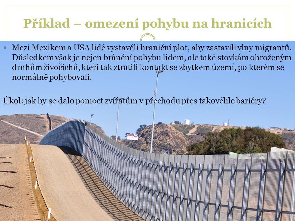 Příklad – omezení pohybu na hranicích Mezi Mexikem a USA lidé vystavěli hraniční plot, aby zastavili vlny migrantů. Důsledkem však je nejen bránění po