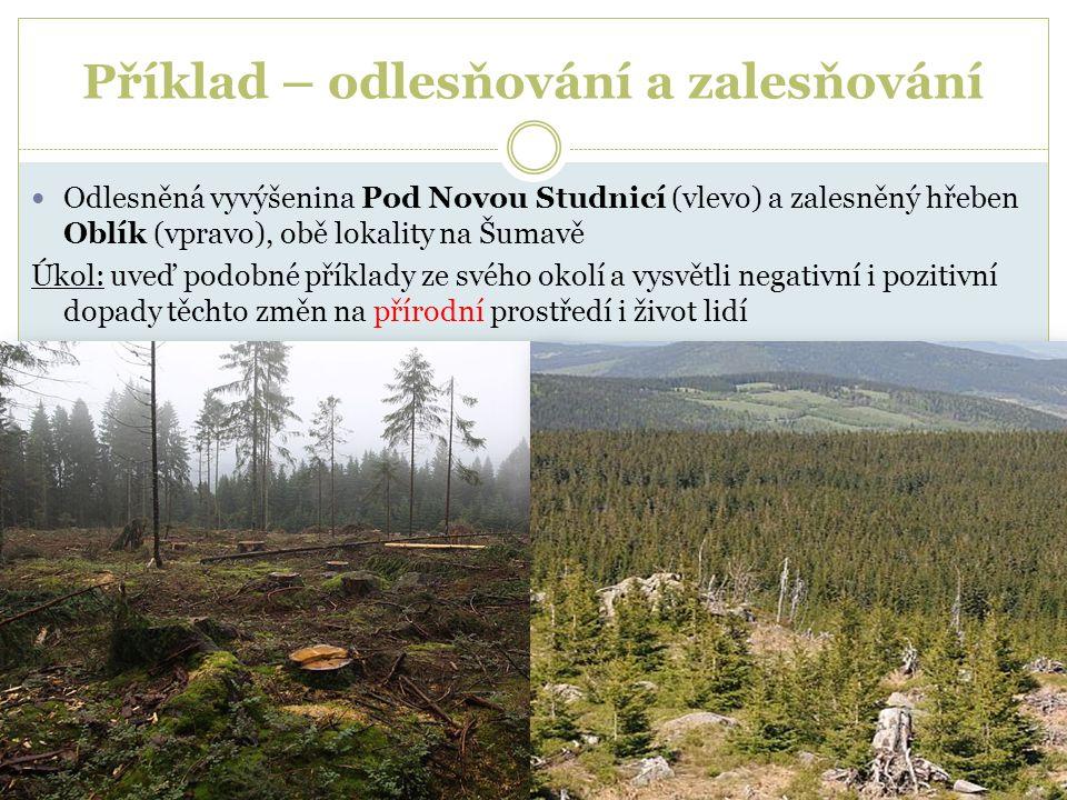 Příklad – odlesňování a zalesňování Odlesněná vyvýšenina Pod Novou Studnicí (vlevo) a zalesněný hřeben Oblík (vpravo), obě lokality na Šumavě Úkol: uv