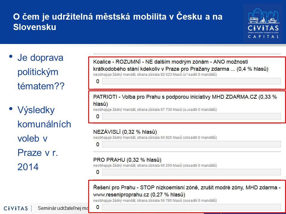 O čem je udržitelná městská mobilita v Česku a na Slovensku Je doprava politickým tématem?? Výsledky komunálních voleb v Praze v r. 2014 Seminár udrža