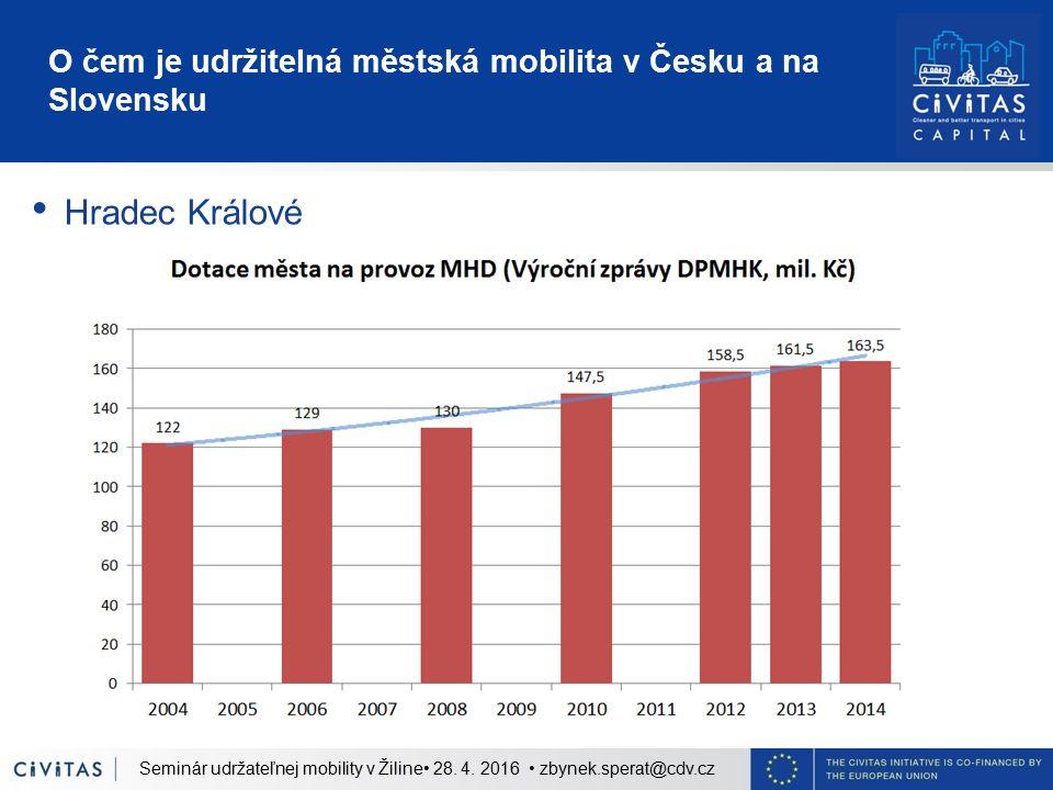 O čem je udržitelná městská mobilita v Česku a na Slovensku Hradec Králové Seminár udržateľnej mobility v Žiline 28. 4. 2016 zbynek.sperat@cdv.cz