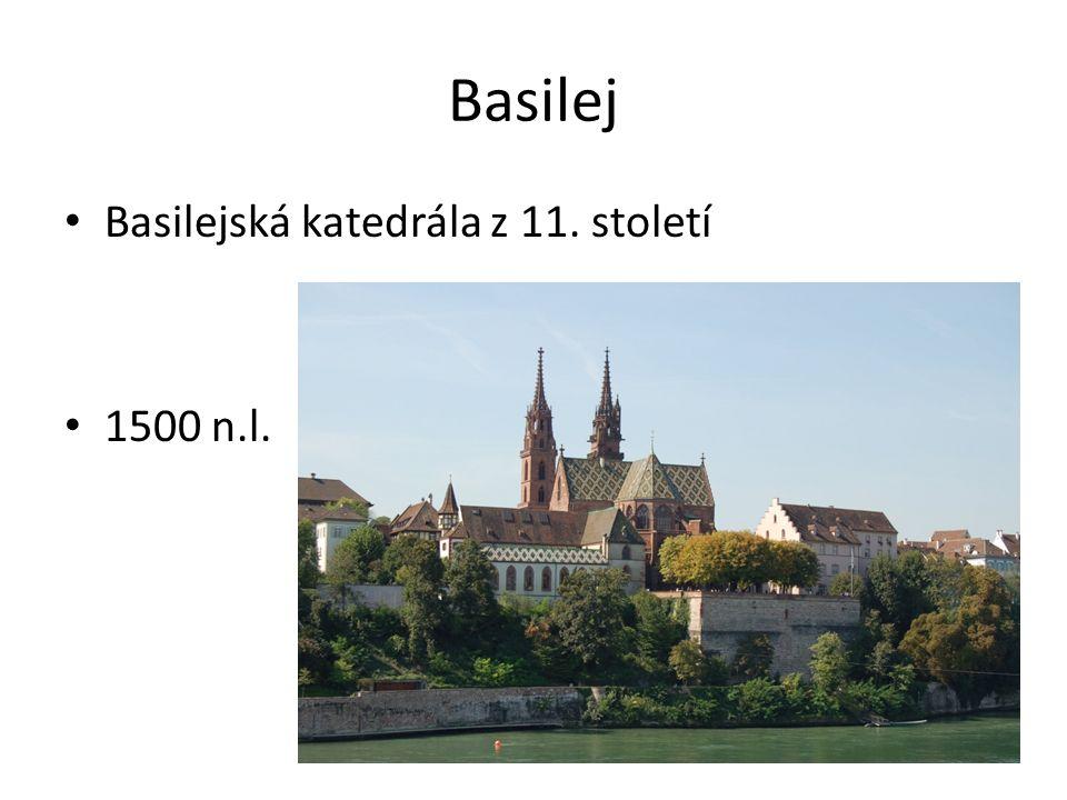Basilej Basilejská katedrála z 11. století 1500 n.l.