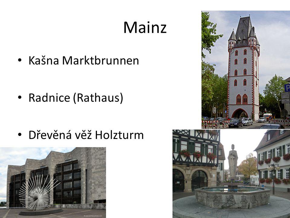 Mainz Kašna Marktbrunnen Radnice (Rathaus) Dřevěná věž Holzturm