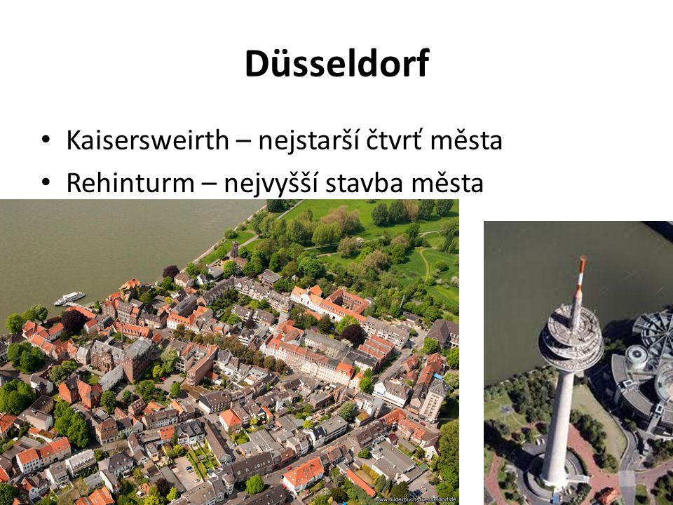 Düsseldorf Kaisersweirth – nejstarší čtvrť města Rehinturm – nejvyšší stavba města
