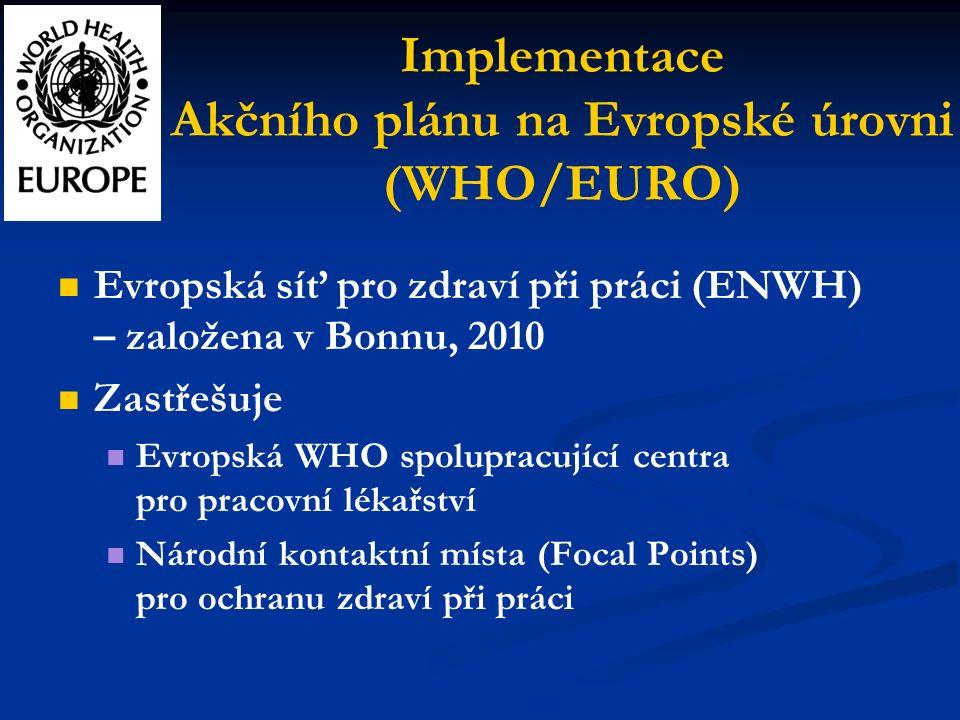 Implementace Akčního plánu na Evropské úrovni (WHO/EURO) Evropská síť pro zdraví při práci (ENWH) – založena v Bonnu, 2010 Zastřešuje Evropská WHO spolupracující centra pro pracovní lékařství Národní kontaktní místa (Focal Points) pro ochranu zdraví při práci