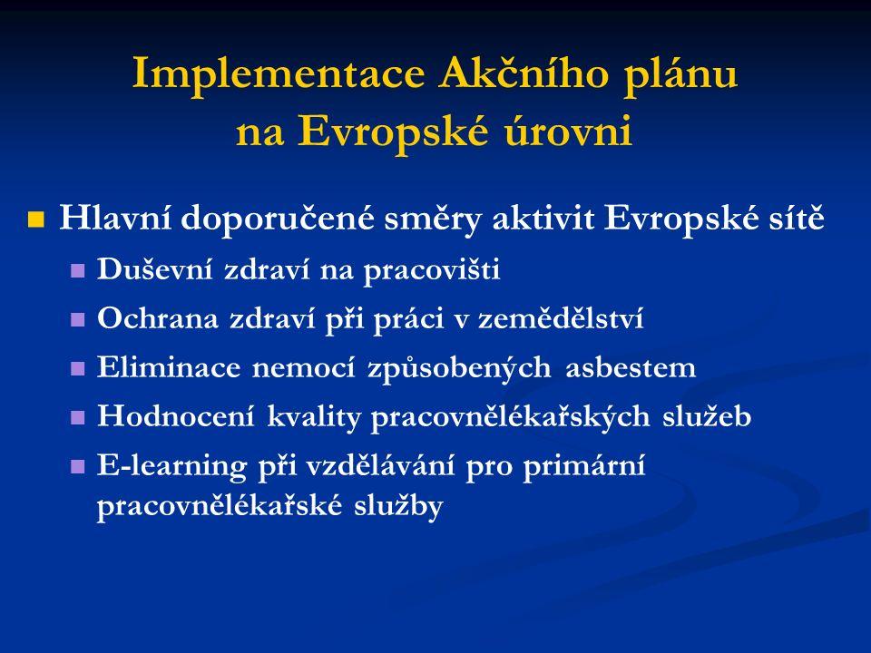 Implementace Akčního plánu na Evropské úrovni Hlavní doporučené směry aktivit Evropské sítě Duševní zdraví na pracovišti Ochrana zdraví při práci v zemědělství Eliminace nemocí způsobených asbestem Hodnocení kvality pracovnělékařských služeb E-learning při vzdělávání pro primární pracovnělékařské služby