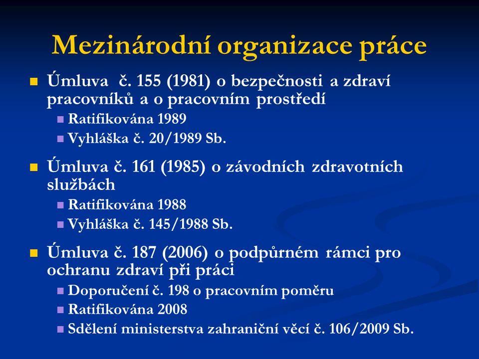 Mezinárodní organizace práce Úmluva č. 155 (1981) o bezpečnosti a zdraví pracovníků a o pracovním prostředí Ratifikována 1989 Vyhláška č. 20/1989 Sb.