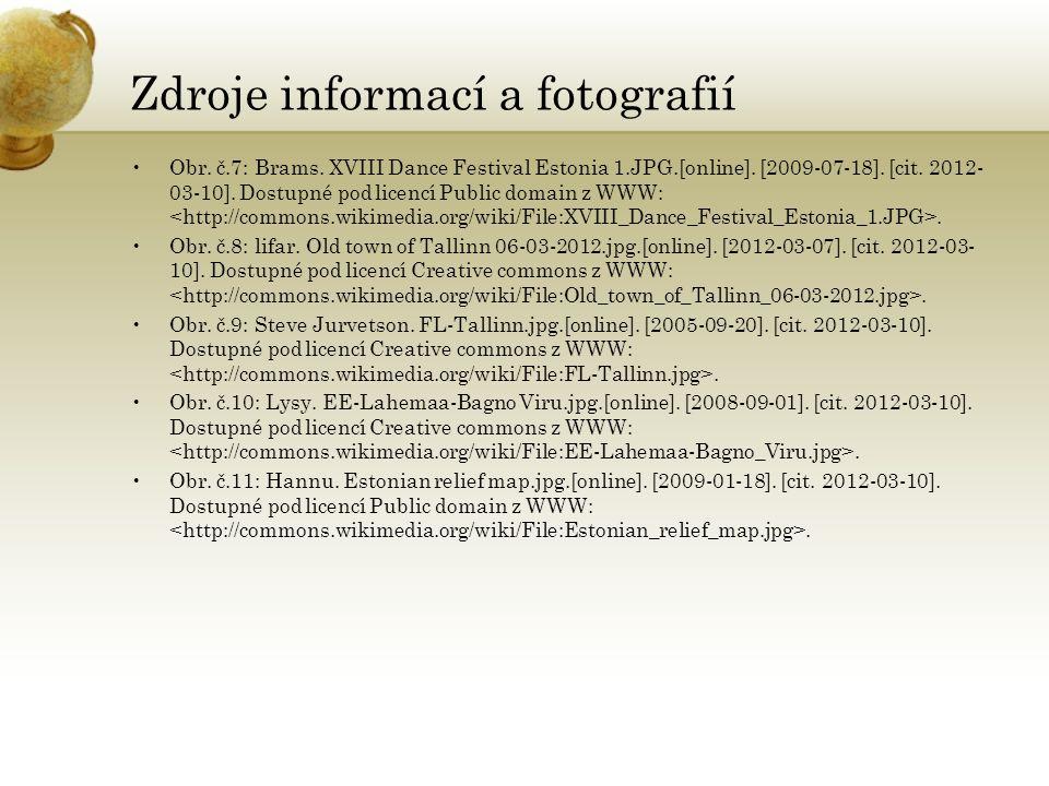 Odkazy http://upload.wikimedia.org/wikipedia/commons/thumb/0/0f/Europe_location _EST.png/800px-Europe_location_EST.png http://www.balticfriends.gr/photogallery/flags%20and%20symbols/est_flag.p ng http://www.balticblues.com/library/images/gallery/lahema22.jpg http://static.panoramio.com/photos/original/46477107.jpg http://media-cdn.tripadvisor.com/media/photo-s/01/41/b8/1e/tallinn-old- town-toompea.jpg http://slantour.cz/foto/full/2284-tallinn---jiny-pohled-na-mesto.jpg http://www.ls.ee/images/gallery/800x600/340.jpg http://estonsko.org/images/narva.jpg http://ih0.redbubble.net/work.705694.11.flat,550x550,075,f.warm-cold- winter-sunset-eesti-looduskalender-maastik.jpg http://i.lidovky.cz/11/011/lngal/MEV3859cc_MDF54163.JPG
