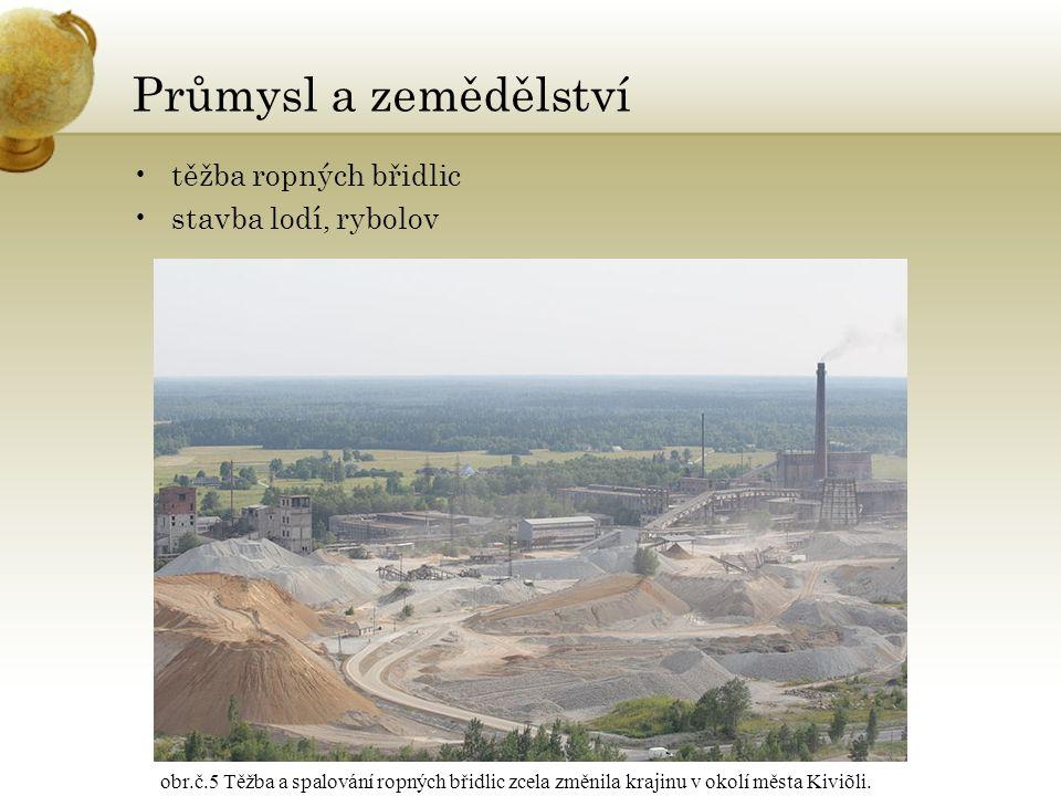 Průmysl a zemědělství těžba ropných břidlic stavba lodí, rybolov obr.č.5 Těžba a spalování ropných břidlic zcela změnila krajinu v okolí města Kiviõli.