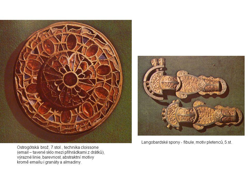 Langobardské spony - fibule, motiv pletenců, 5.st.