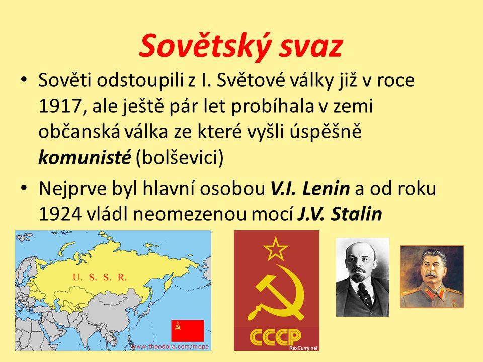 Nástroje sovětské politiky Násilná kolektivizace - sdružování drobných rolníků do kolchozů - hladomor Industrializace -Rychlý rozvoj průmyslu, program pětiletek Likvidace protivníků -Jakékoli podezření znamenalo mučení, vězení, transport do GULAGU -Rozvinutá sít tajné policie KGB a NKVD -Atmosféra strachu a podezírání mezi lidmi Rusifikace – porušťování ostatních národů v SSSR