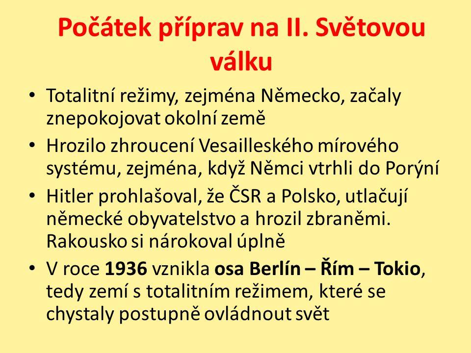 USA se za oceánem vzpamatovávala z krize a hrozba nacismu se jí zatím netýkala V roce 1935 Itálie obsadila Etiopii, bojovalo se v Číně, Španělsku i v Jižní Americe V březnu 1938 Hitler obsadil Rakousko (Anšlus) Němci žijící v Československu stále stupňovali své požadavky na připojení k Německu 30.9 1938 byl podepsán Mnichovský diktát, v němž politici cizích zemí (Německo, Itálie, Anglie, Francie) podepsali, že Německo si zabírá třetinu území ČSR, kde žili němci II.