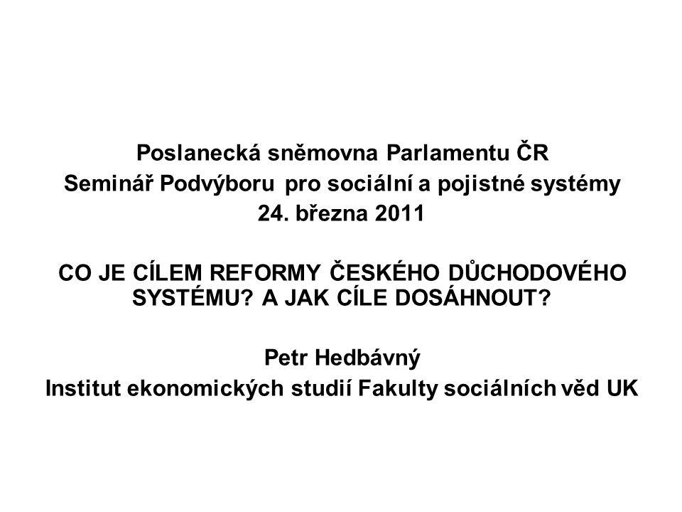 Poslanecká sněmovna Parlamentu ČR Seminář Podvýboru pro sociální a pojistné systémy 24.