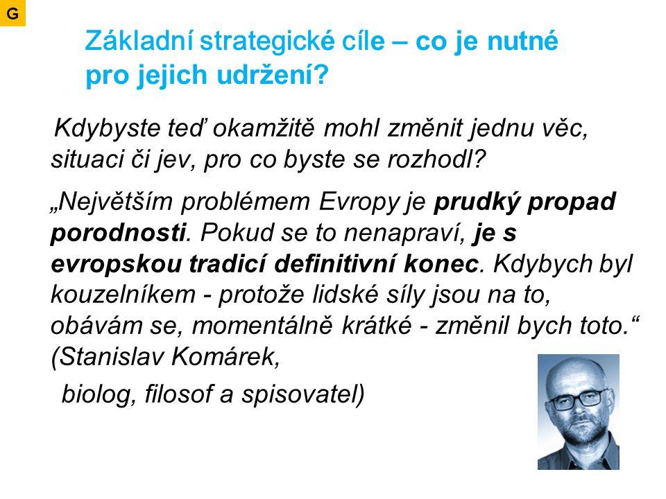 Základní strategick é cíl e – co je nutné pro jejich udržení.