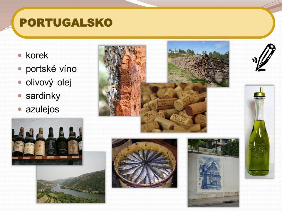 korek portské víno olivový olej sardinky azulejos