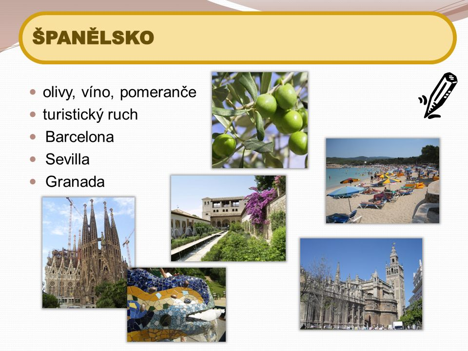 olivy, víno, pomeranče turistický ruch Barcelona Sevilla Granada
