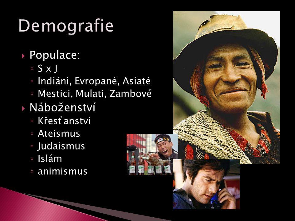  Populace: ◦ S x J ◦ Indiáni, Evropané, Asiaté ◦ Mestici, Mulati, Zambové  Náboženství ◦ Křesťanství ◦ Ateismus ◦ Judaismus ◦ Islám ◦ animismus