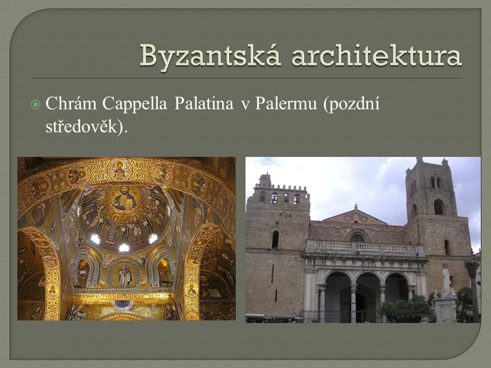  Chrám Cappella Palatina v Palermu (pozdní středověk).