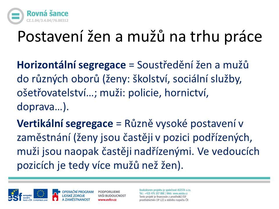 Horizontální segregace = Soustředění žen a mužů do různých oborů (ženy: školství, sociální služby, ošetřovatelství…; muži: policie, hornictví, doprava…).