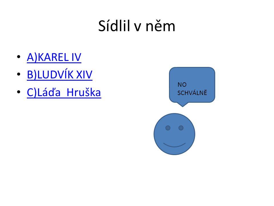 Sídlil v něm A)KAREL IV B)LUDVÍK XIV C)Láďa Hruška NO SCHVÁLNĚ