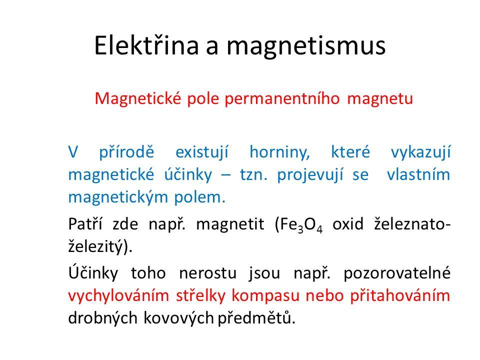 Magnetické pole permanentního magnetu V přírodě existují horniny, které vykazují magnetické účinky – tzn.