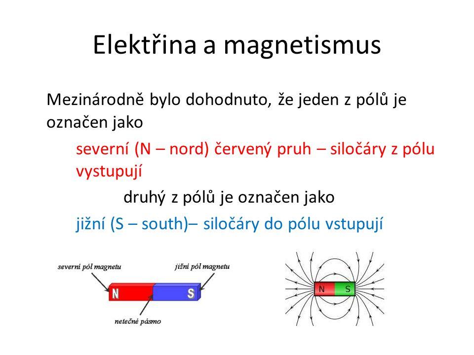 Elektřina a magnetismus Mezinárodně bylo dohodnuto, že jeden z pólů je označen jako severní (N – nord) červený pruh – siločáry z pólu vystupují druhý z pólů je označen jako jižní (S – south)– siločáry do pólu vstupují