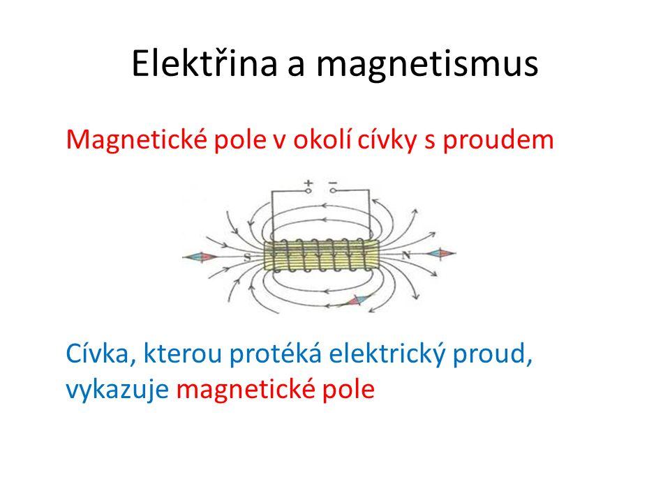 Elektřina a magnetismus Ampérovo pravidlo pro určení magnetických pólů cívky Cívku s protékajícím proudem uchopíme pravou rukou tak, aby zahnuté prsty ukazovaly směr protékajícího proudu v závitech cívky – odtažený palec pak ukazuje severní pól cívky