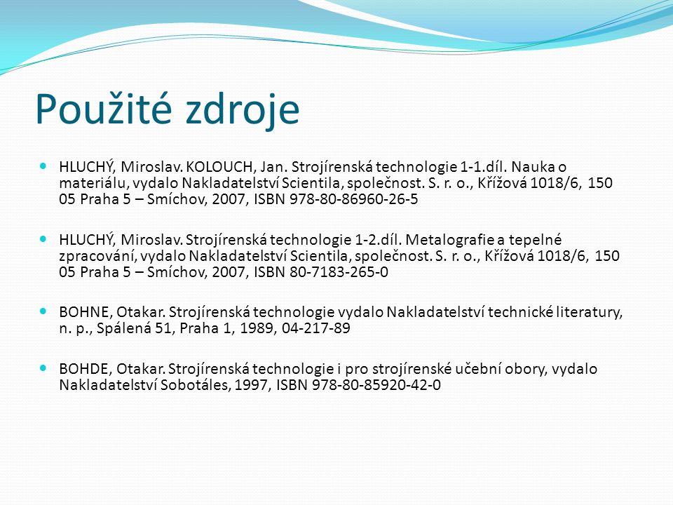 Použité zdroje HLUCHÝ, Miroslav. KOLOUCH, Jan. Strojírenská technologie 1-1.díl.