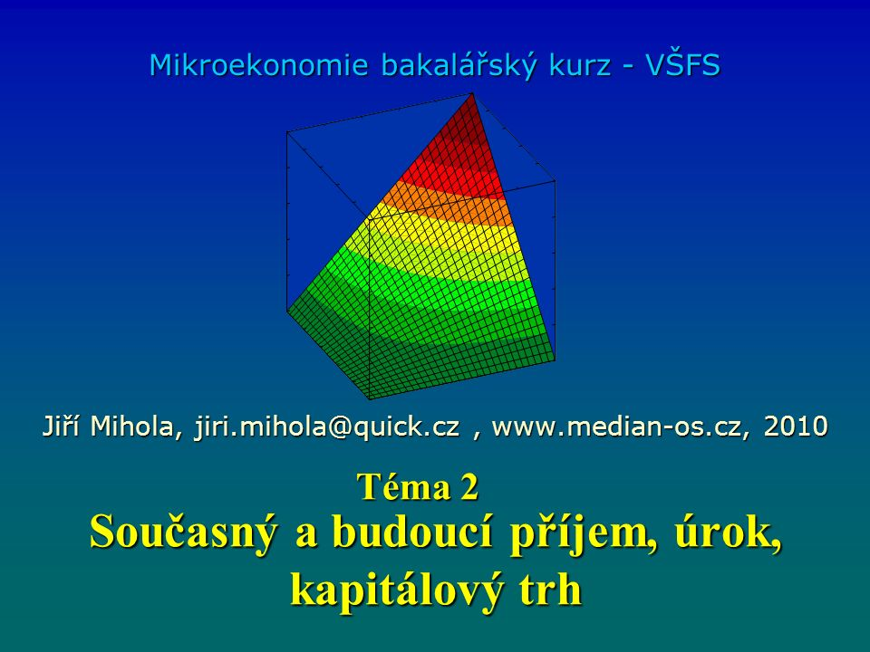 Současný a budoucí příjem, úrok, kapitálový trh Mikroekonomie bakalářský kurz - VŠFS Jiří Mihola, jiri.mihola@quick.cz, www.median-os.cz, 2010 Téma 2