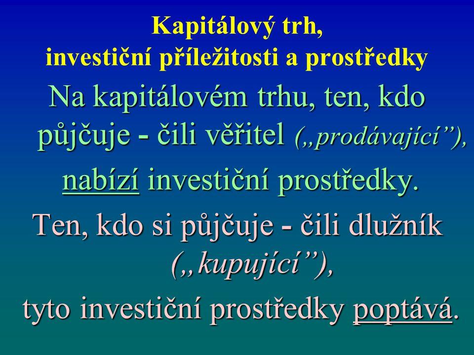 """Kapitálový trh, investiční příležitosti a prostředky Na kapitálovém trhu, ten, kdo půjčuje - čili věřitel (""""prodávající ), nabízí investiční prostředky."""