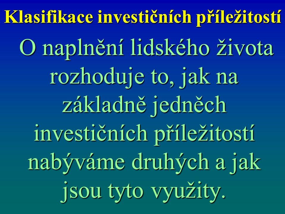 Vztah investičních příležitostí a schopností člověka K získání peněz pro rozvoj investičních příležitostí lze využít kapitáloví trh.