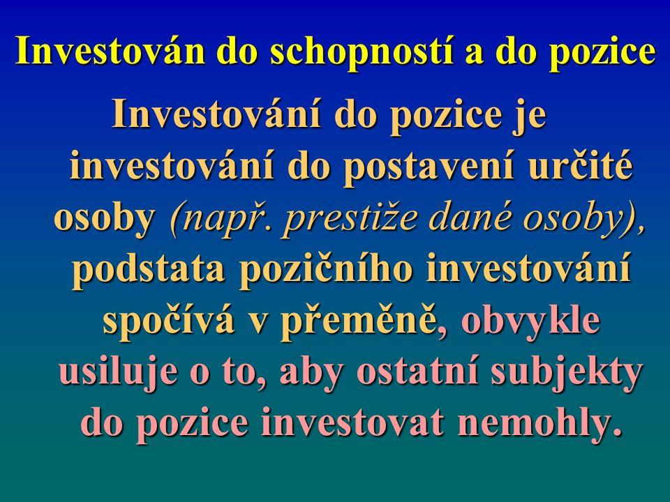 Investování do pozice je investování do postavení určité osoby (např.