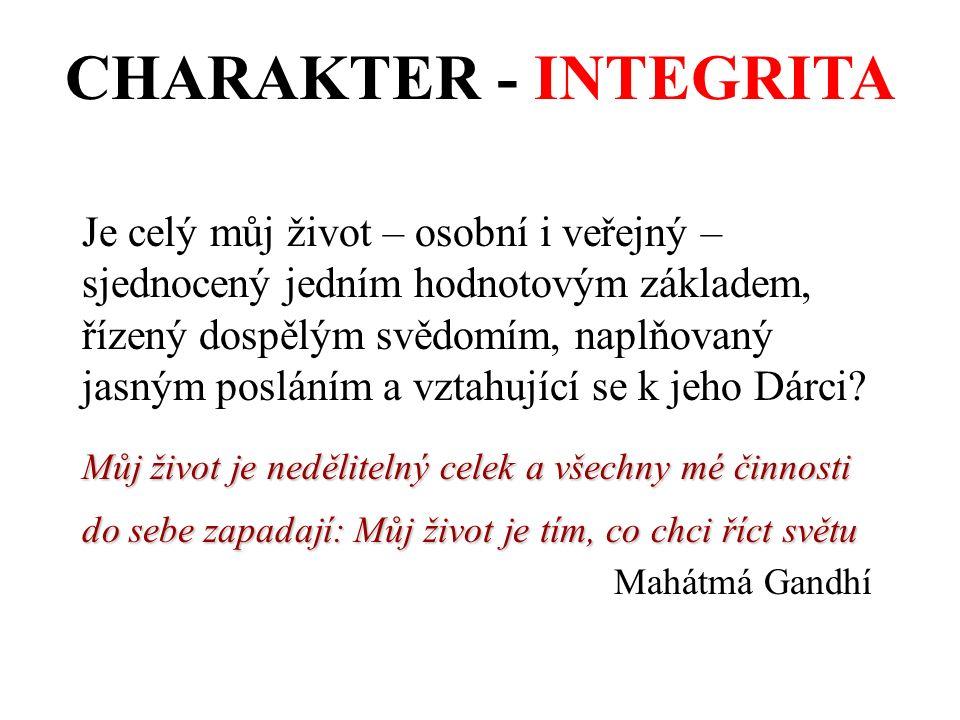 CHARAKTER - INTEGRITA Je celý můj život – osobní i veřejný – sjednocený jedním hodnotovým základem, řízený dospělým svědomím, naplňovaný jasným posláním a vztahující se k jeho Dárci.