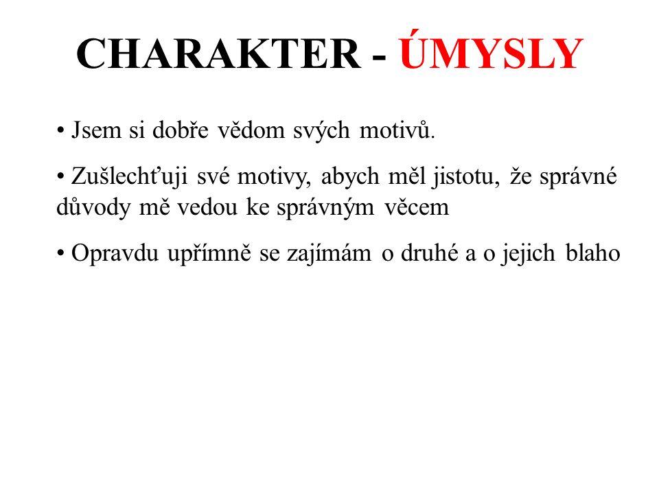 CHARAKTER - ÚMYSLY Jsem si dobře vědom svých motivů.