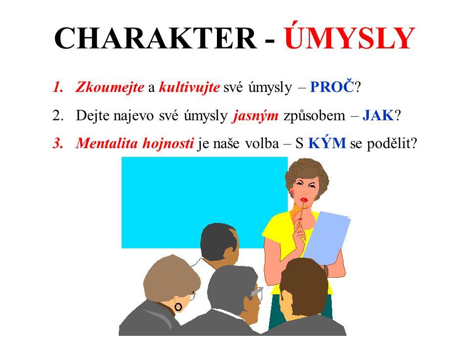 CHARAKTER - ÚMYSLY 1.Zkoumejte a kultivujte své úmysly – PROČ.