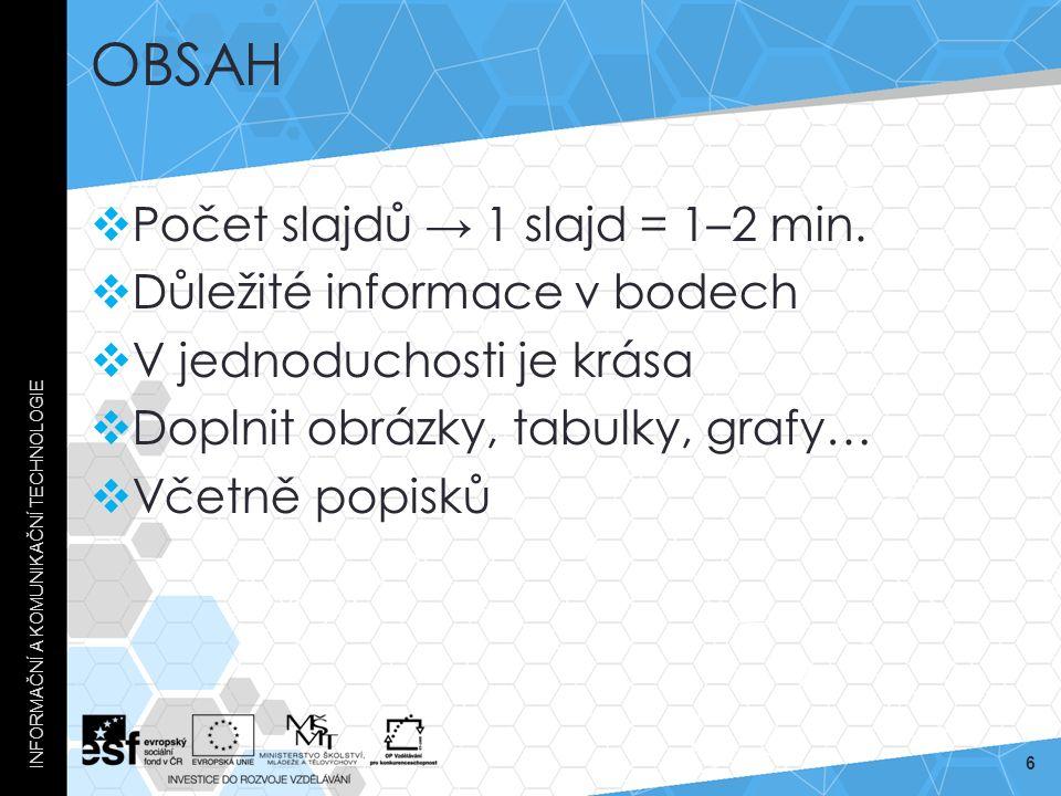 OBSAH  Počet slajdů → 1 slajd = 1–2 min.  Důležité informace v bodech  V jednoduchosti je krása  Doplnit obrázky, tabulky, grafy…  Včetně popisků