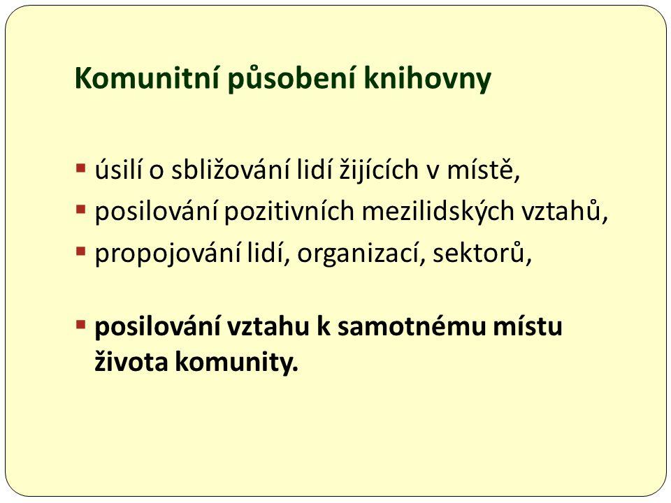 Komunitní působení knihovny  úsilí o sbližování lidí žijících v místě,  posilování pozitivních mezilidských vztahů,  propojování lidí, organizací, sektorů,  posilování vztahu k samotnému místu života komunity.