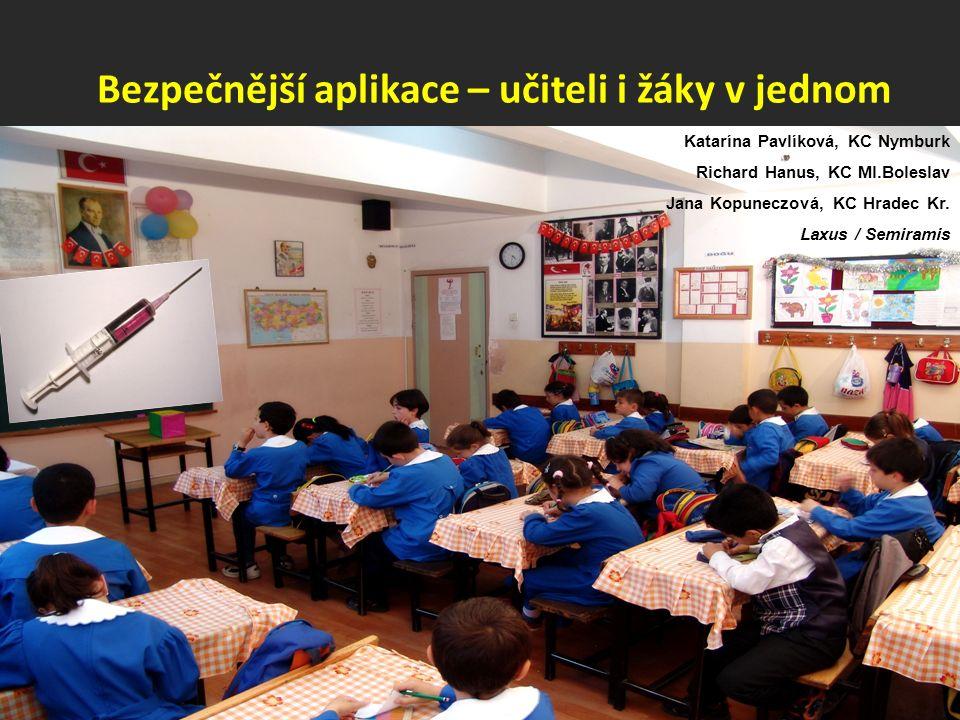 Bezpečnější aplikace – učiteli i žáky v jednom Katarína Pavlíková, KC Nymburk Richard Hanus, KC Ml.Boleslav Jana Kopuneczová, KC Hradec Kr. Laxus / Se