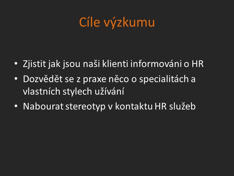 Cíle výzkumu Zjistit jak jsou naši klienti informováni o HR Dozvědět se z praxe něco o specialitách a vlastních stylech užívání Nabourat stereotyp v kontaktu HR služeb