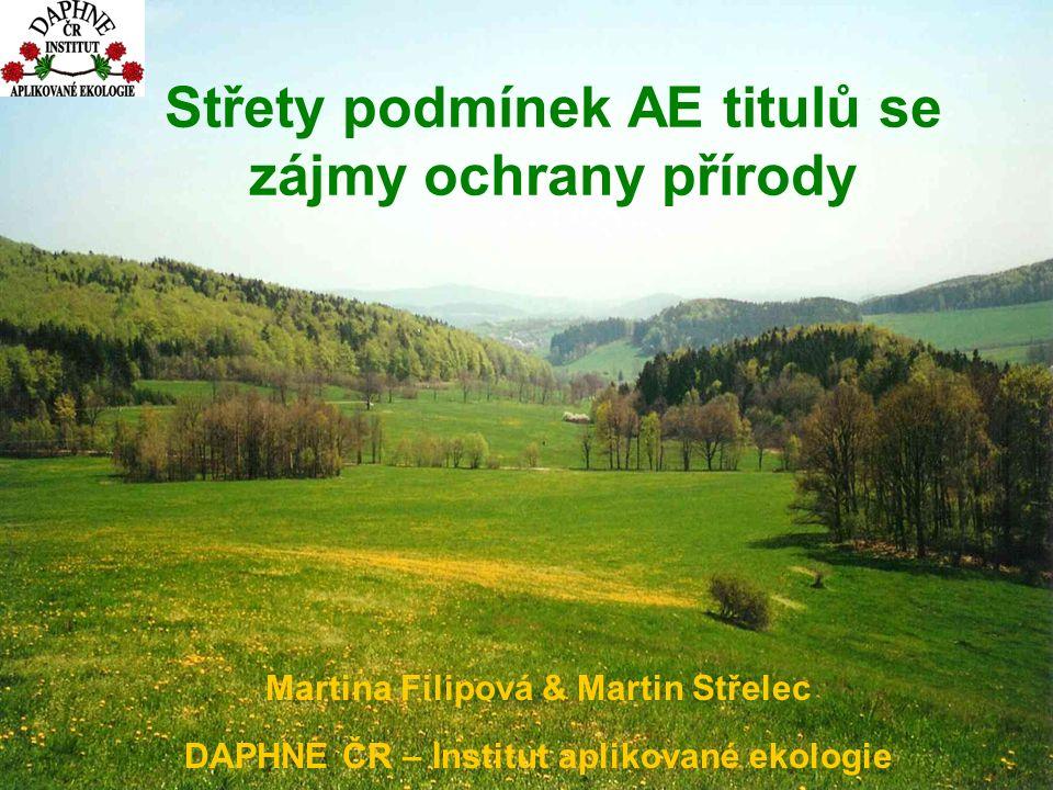 Střety podmínek AE titulů se zájmy ochrany přírody Martina Filipová & Martin Střelec DAPHNE ČR – Institut aplikované ekologie