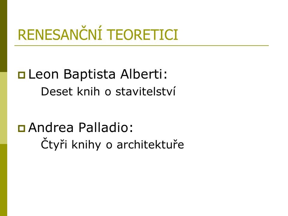 RENESANČNÍ TEORETICI  Leon Baptista Alberti: Deset knih o stavitelství  Andrea Palladio: Čtyři knihy o architektuře