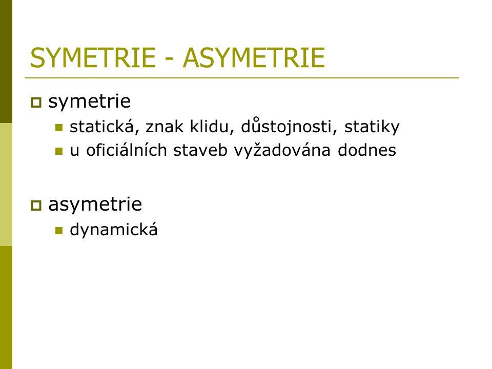 SYMETRIE - ASYMETRIE  symetrie statická, znak klidu, důstojnosti, statiky u oficiálních staveb vyžadována dodnes  asymetrie dynamická