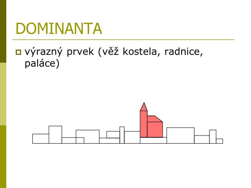 DOMINANTA vvýrazný prvek (věž kostela, radnice, paláce)