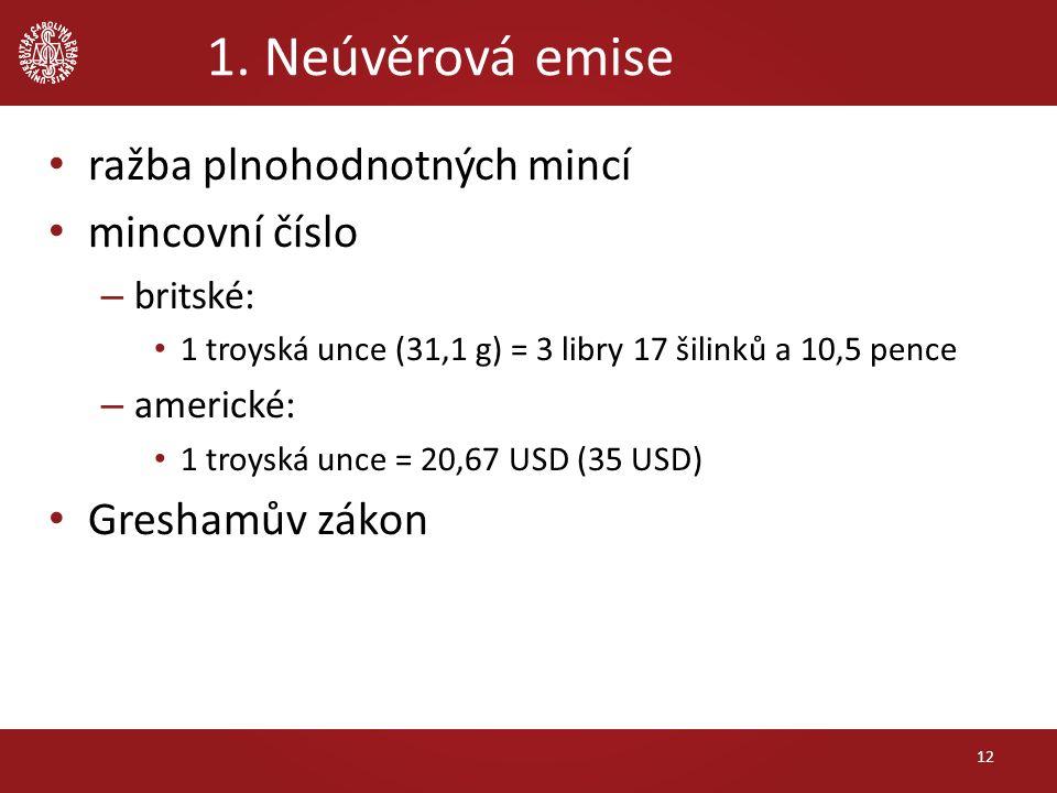 1. Neúvěrová emise ražba plnohodnotných mincí mincovní číslo – britské: 1 troyská unce (31,1 g) = 3 libry 17 šilinků a 10,5 pence – americké: 1 troysk