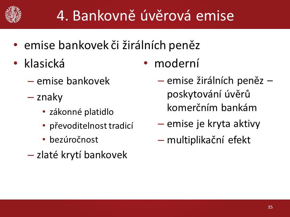 4. Bankovně úvěrová emise emise bankovek či žirálních peněz klasická – emise bankovek – znaky zákonné platidlo převoditelnost tradicí bezúročnost – zl