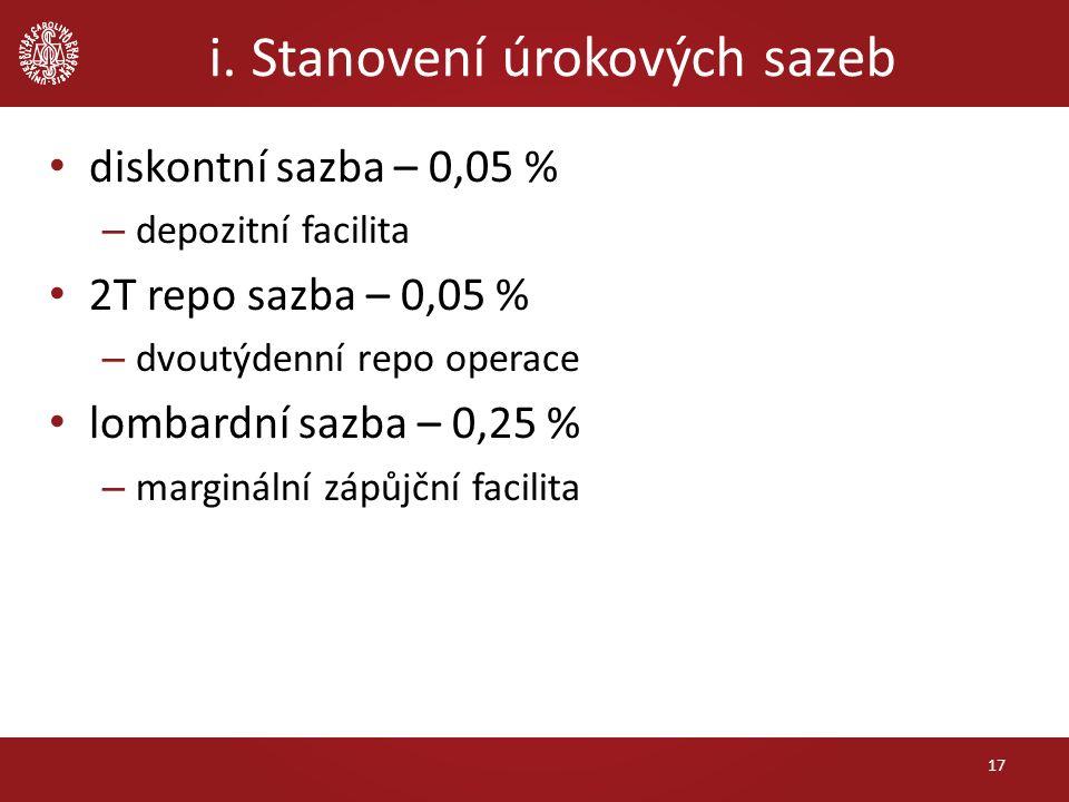 i. Stanovení úrokových sazeb 17 diskontní sazba – 0,05 % – depozitní facilita 2T repo sazba – 0,05 % – dvoutýdenní repo operace lombardní sazba – 0,25