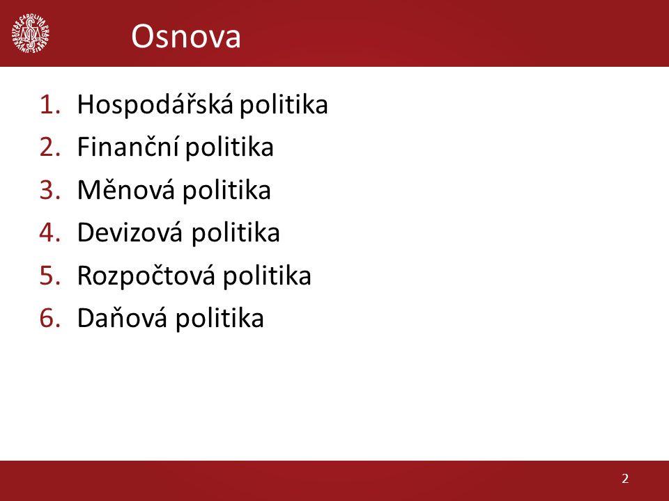 Osnova 1.Hospodářská politika 2.Finanční politika 3.Měnová politika 4.Devizová politika 5.Rozpočtová politika 6.Daňová politika 2