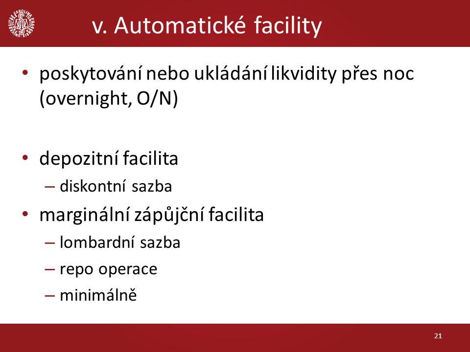 v. Automatické facility 21 poskytování nebo ukládání likvidity přes noc (overnight, O/N) depozitní facilita – diskontní sazba marginální zápůjční faci