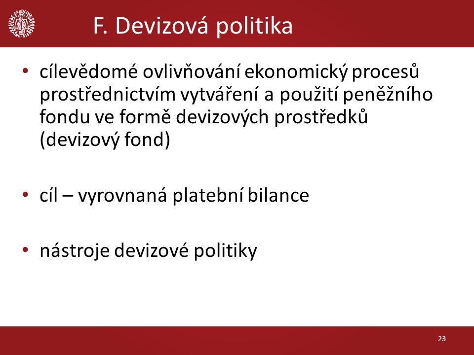F. Devizová politika cílevědomé ovlivňování ekonomický procesů prostřednictvím vytváření a použití peněžního fondu ve formě devizových prostředků (dev