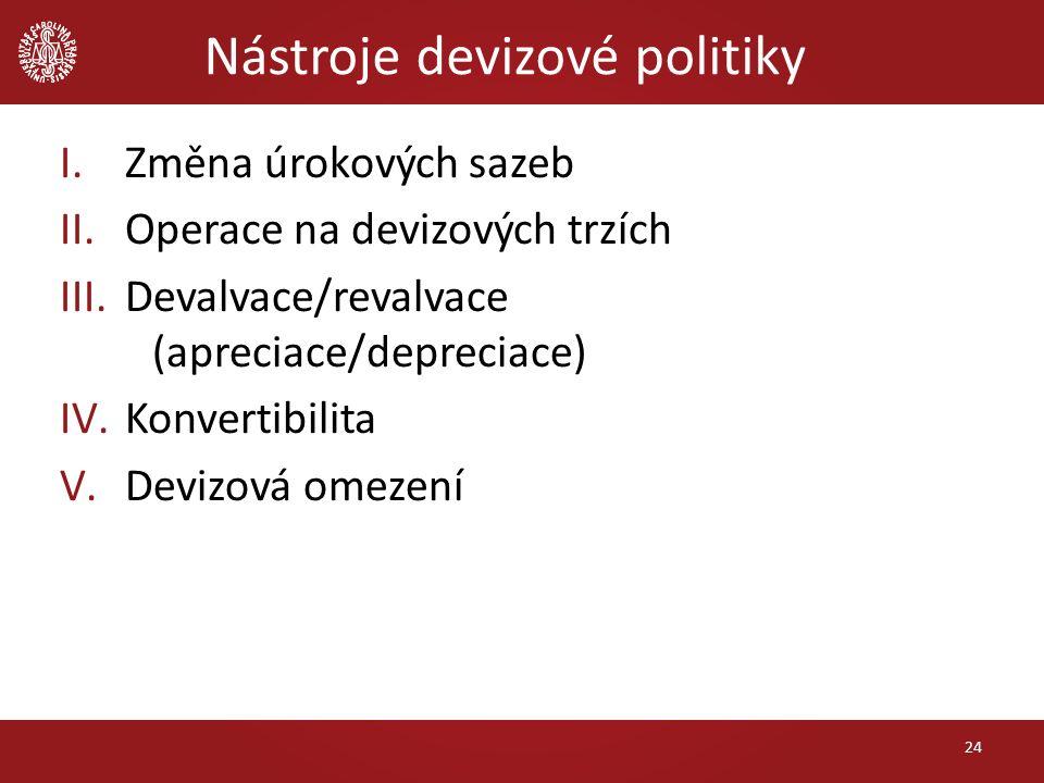 Nástroje devizové politiky I.Změna úrokových sazeb II.Operace na devizových trzích III.Devalvace/revalvace (apreciace/depreciace) IV.Konvertibilita V.Devizová omezení 24