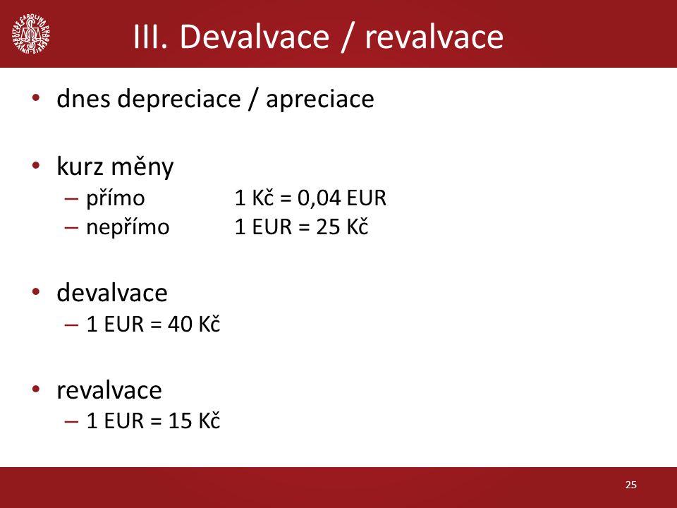 III. Devalvace / revalvace dnes depreciace / apreciace kurz měny – přímo 1 Kč = 0,04 EUR – nepřímo 1 EUR = 25 Kč devalvace – 1 EUR = 40 Kč revalvace –